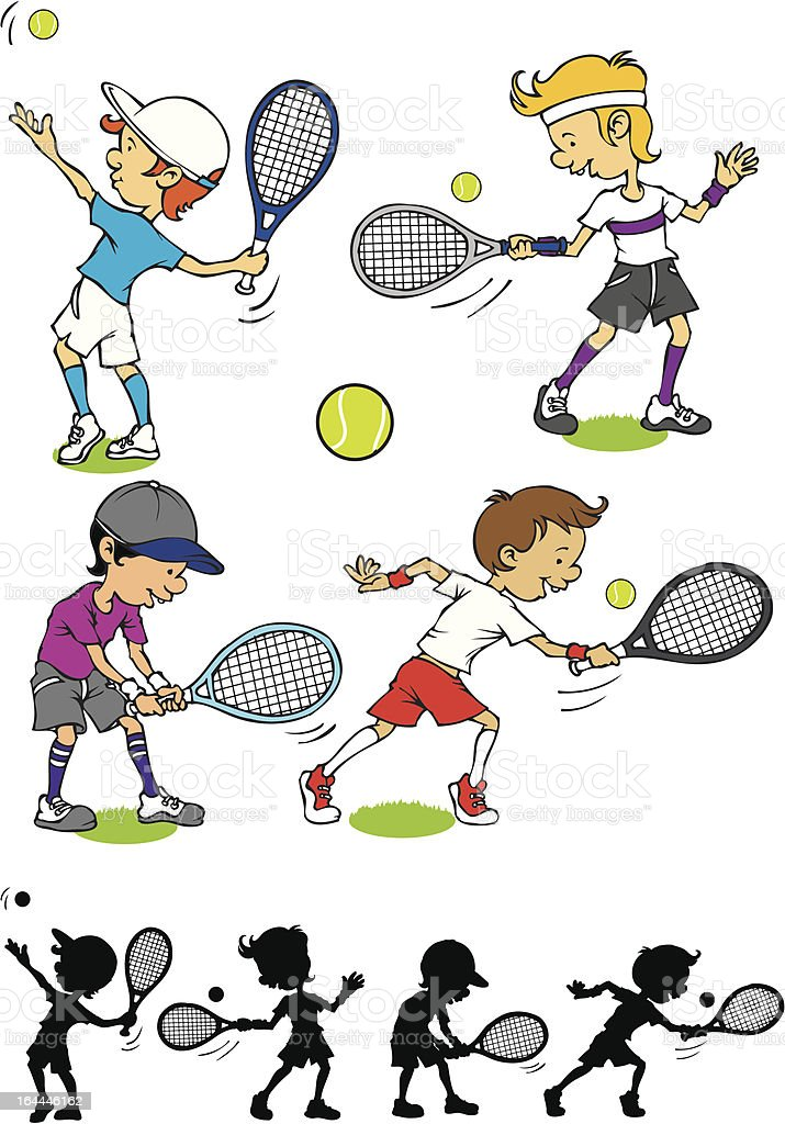 Boy character playing tennis royalty-free stock vector art