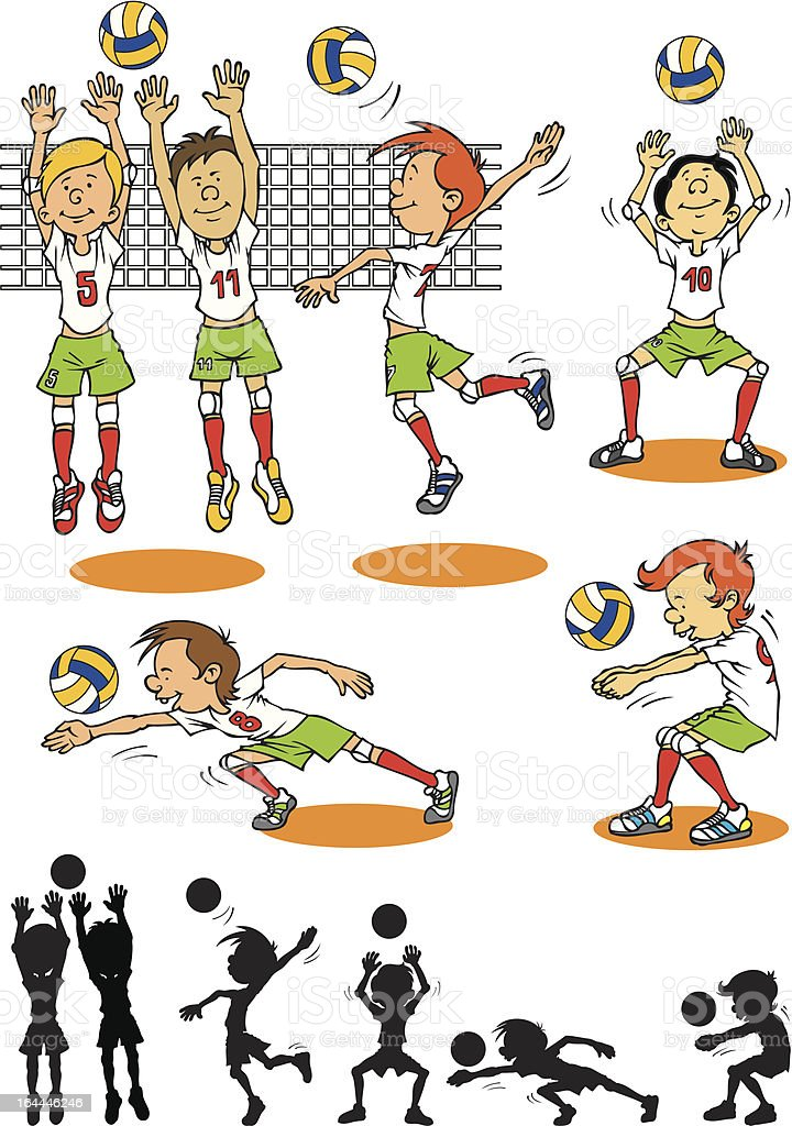 Boy character playing volleyball royalty-free stock vector art