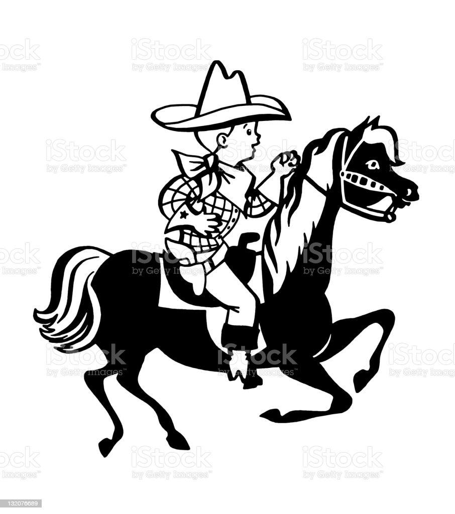 Boy Cowboy Riding Horse vector art illustration