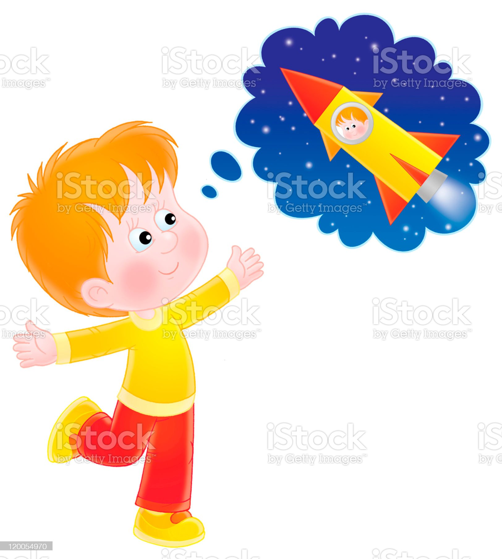 Boy dreaming of a space flight royalty-free stock vector art