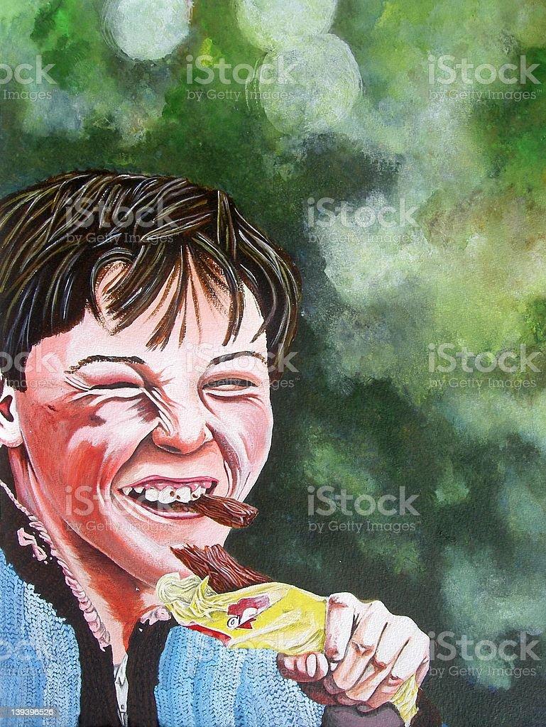 Boy Eating Chocolate royalty-free stock vector art