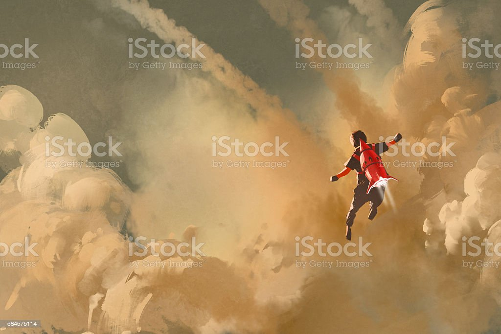 boy flying in the cloudy sky with jet pack rocket vector art illustration