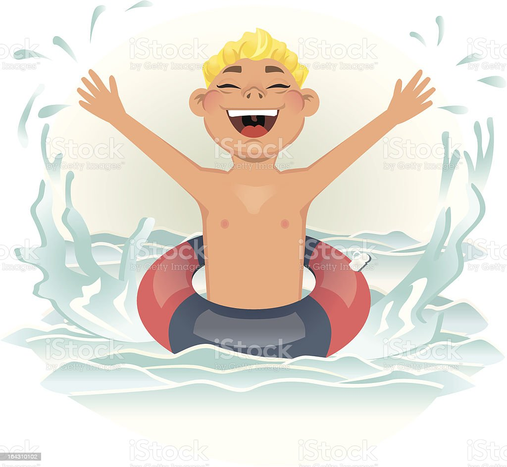 Boy having fun in the Water vector art illustration