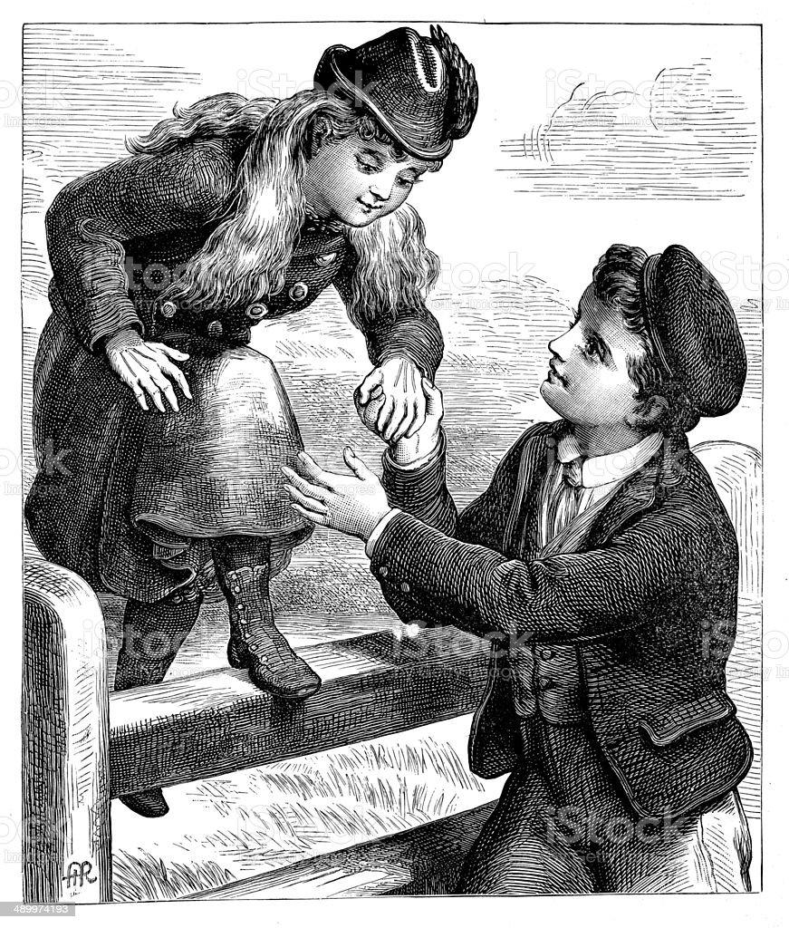Boy Helping Girl Cross The Fence vector art illustration