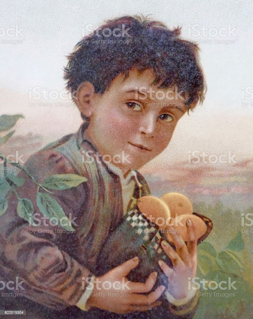 Boy holding a bag filled with fruits vector art illustration