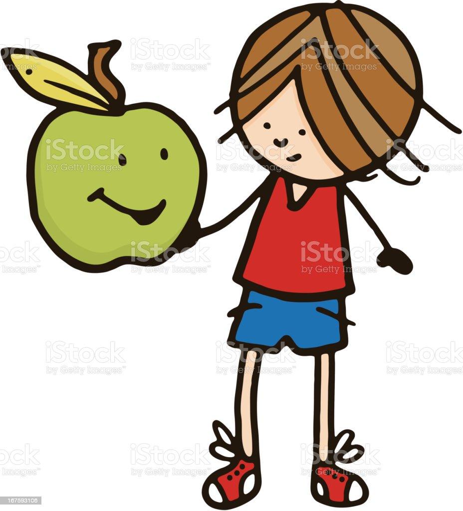 Boy holding a large apple vector art illustration