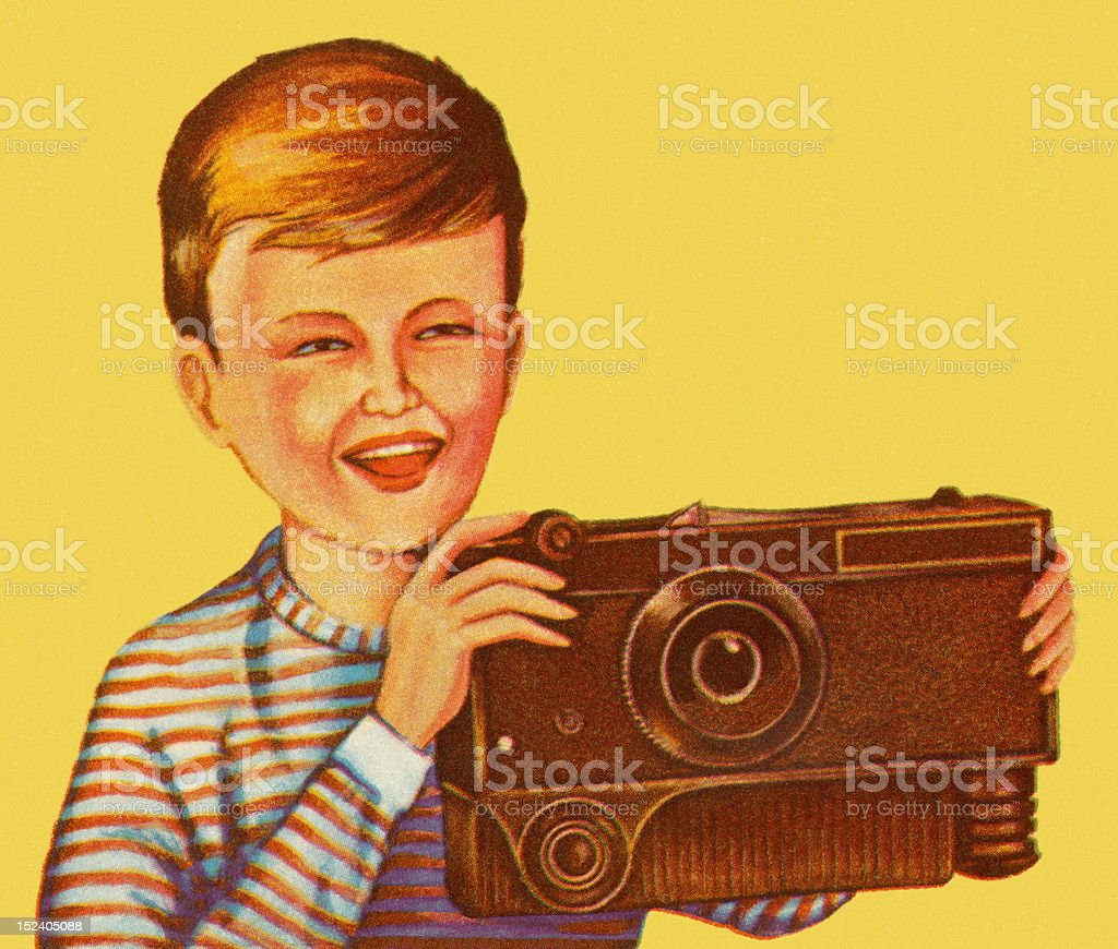 Boy Holding Large Brown Camera royalty-free stock vector art