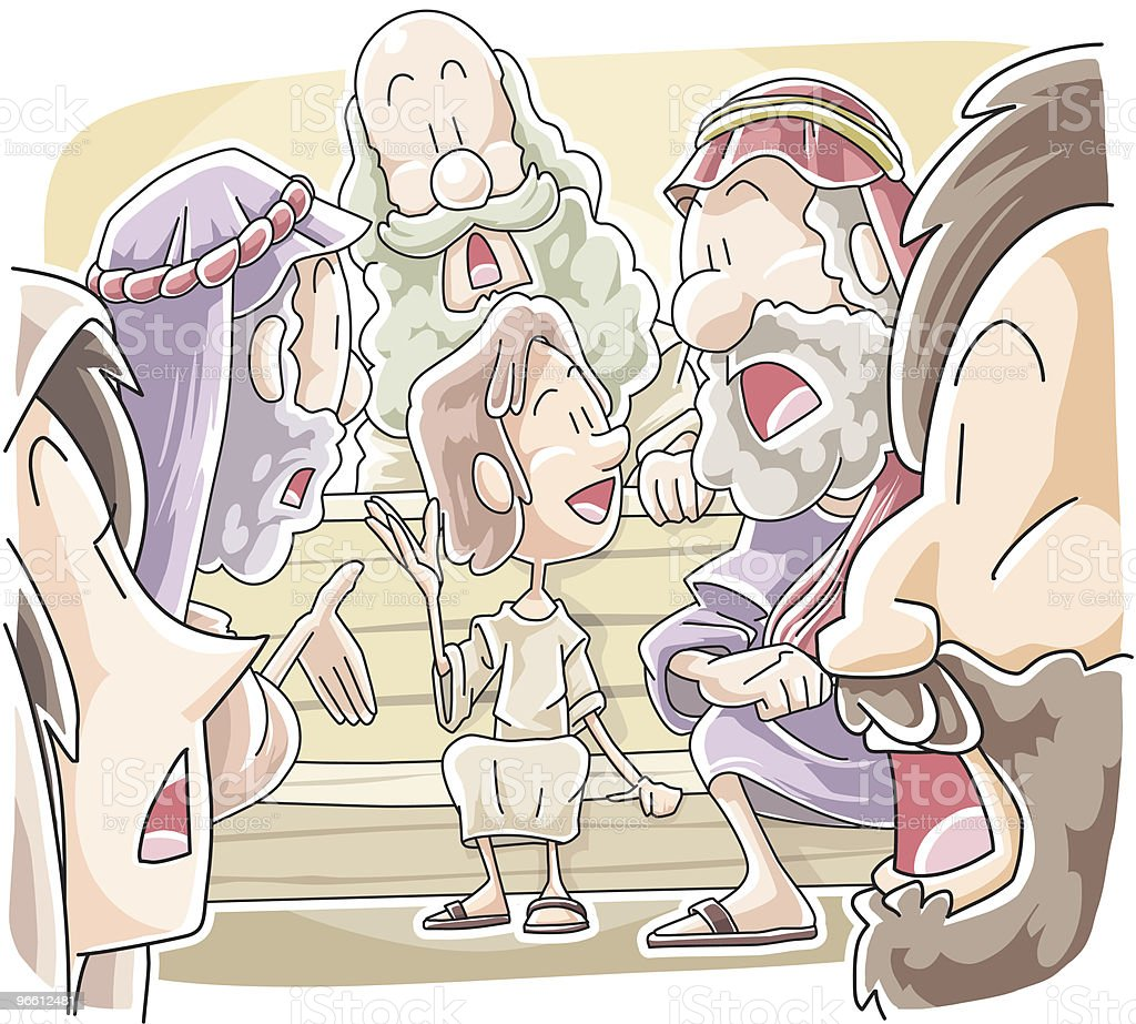Boy Jesus in father's house vector art illustration