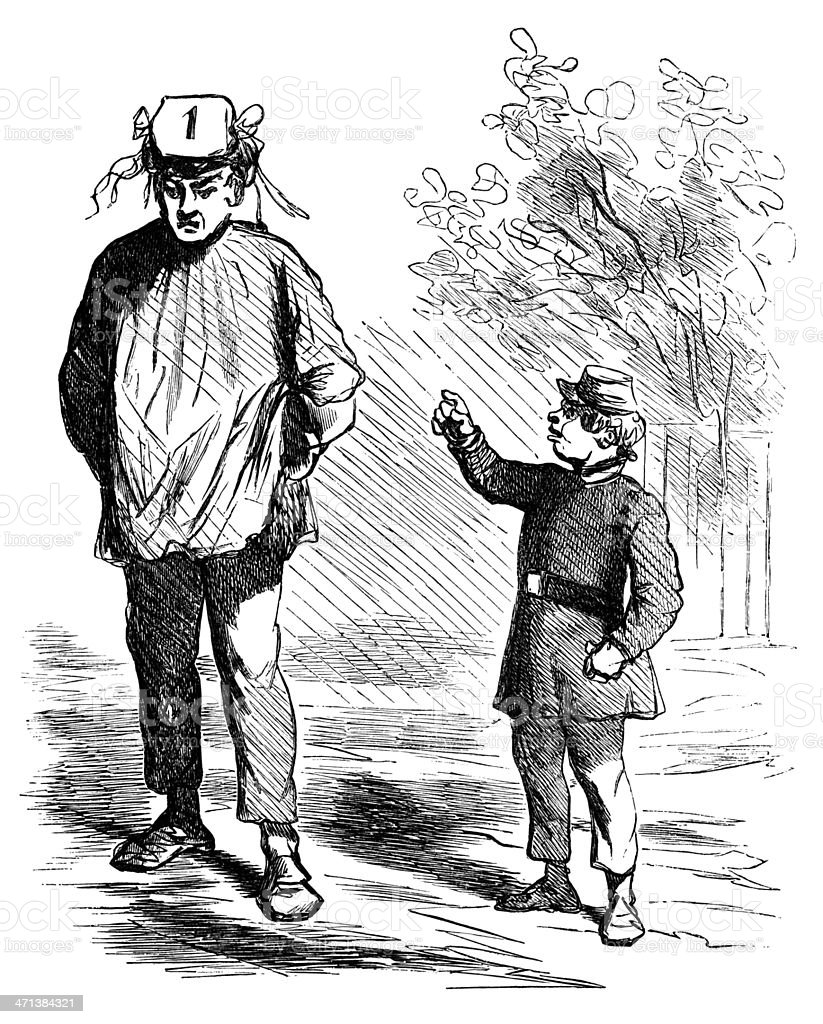 Boy mocking a man's hat vector art illustration