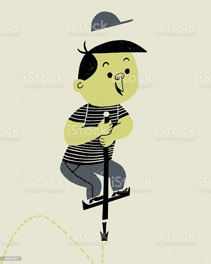 Boy on a Pogo Stick royalty-free stock vector art