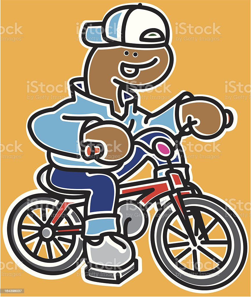 Boy on red bicycle royalty-free stock vector art
