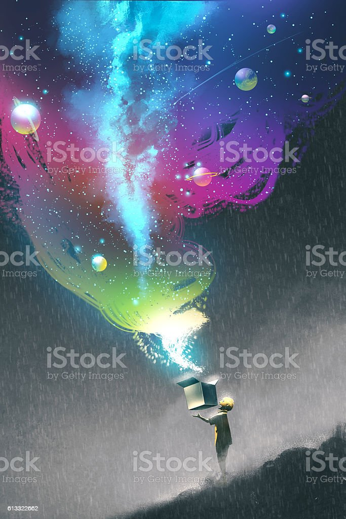 boy opening a fantasy box with colorful light vector art illustration