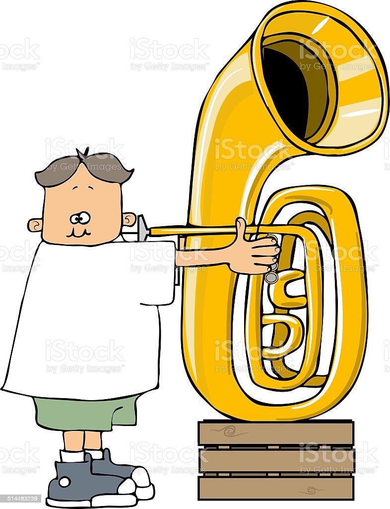 Boy playing a tuba vector art illustration