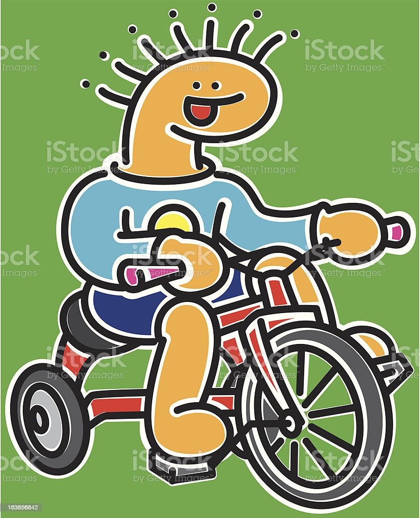 Boy riding red tricycle royalty-free stock vector art