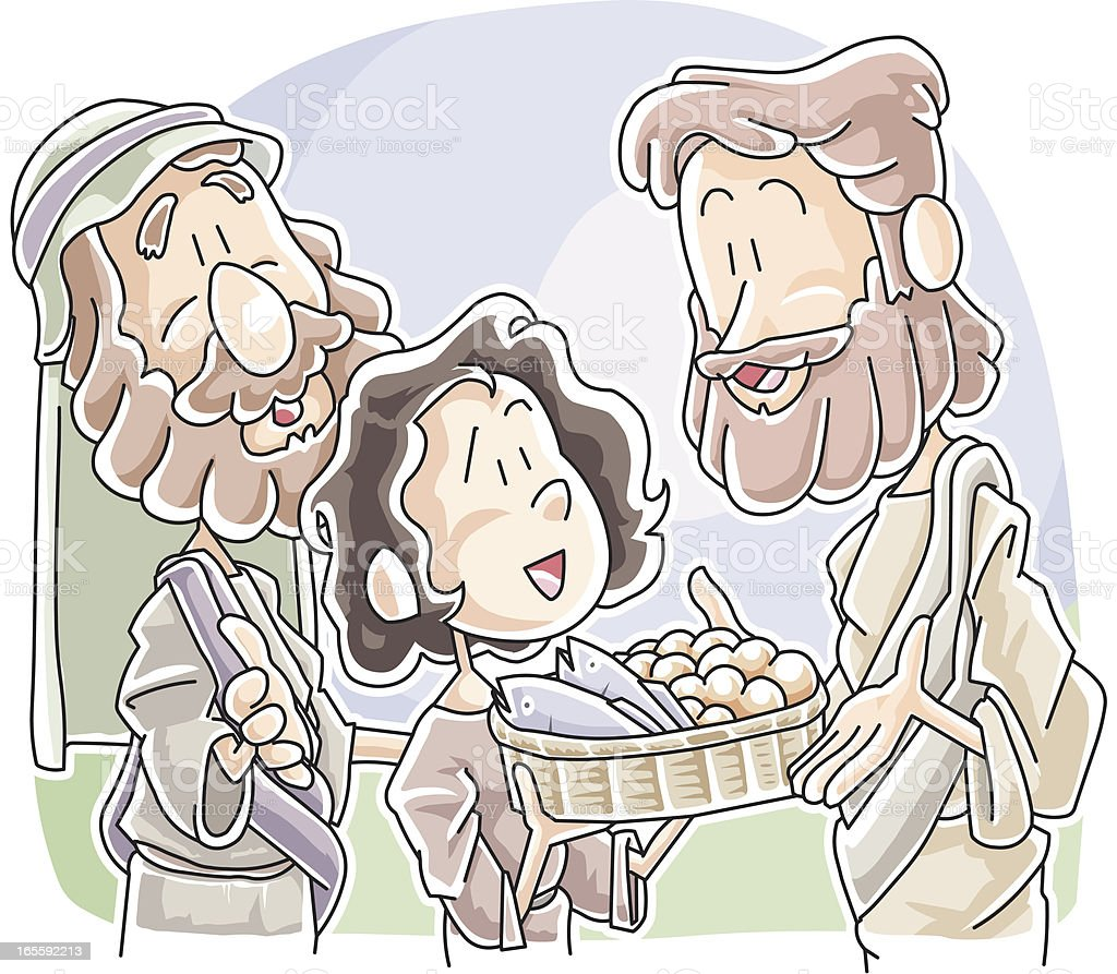Boy sharing his bread and fish to Jesus vector art illustration