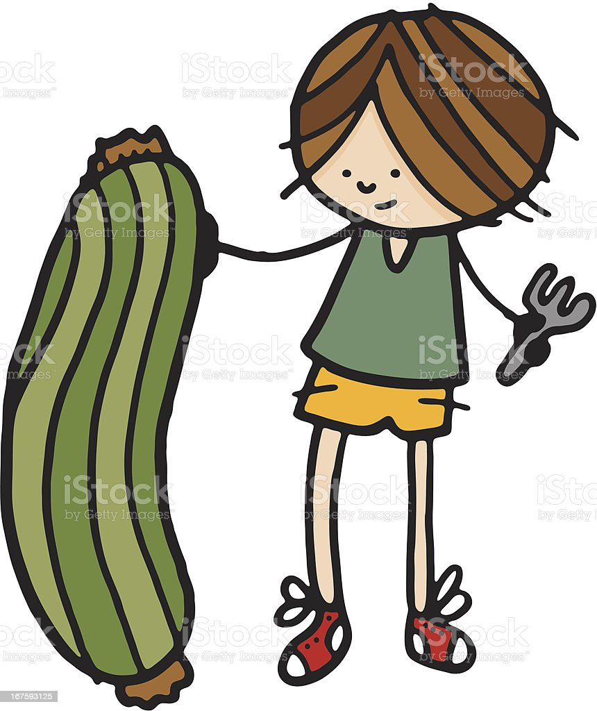 Boy stood next to large zucchini royalty-free stock vector art