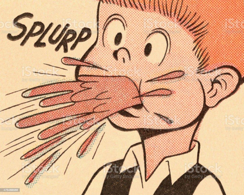 Boy Vomiting vector art illustration