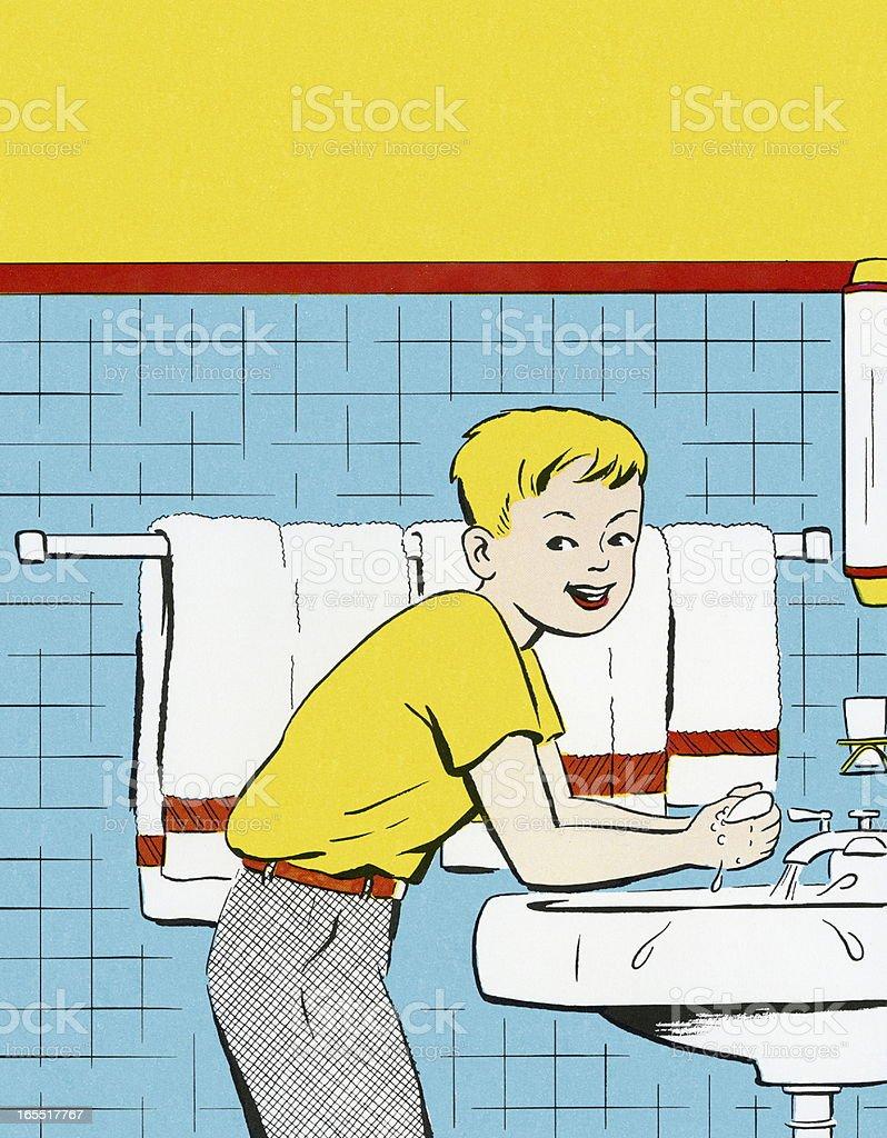 Boy Washing His Hands royalty-free stock vector art