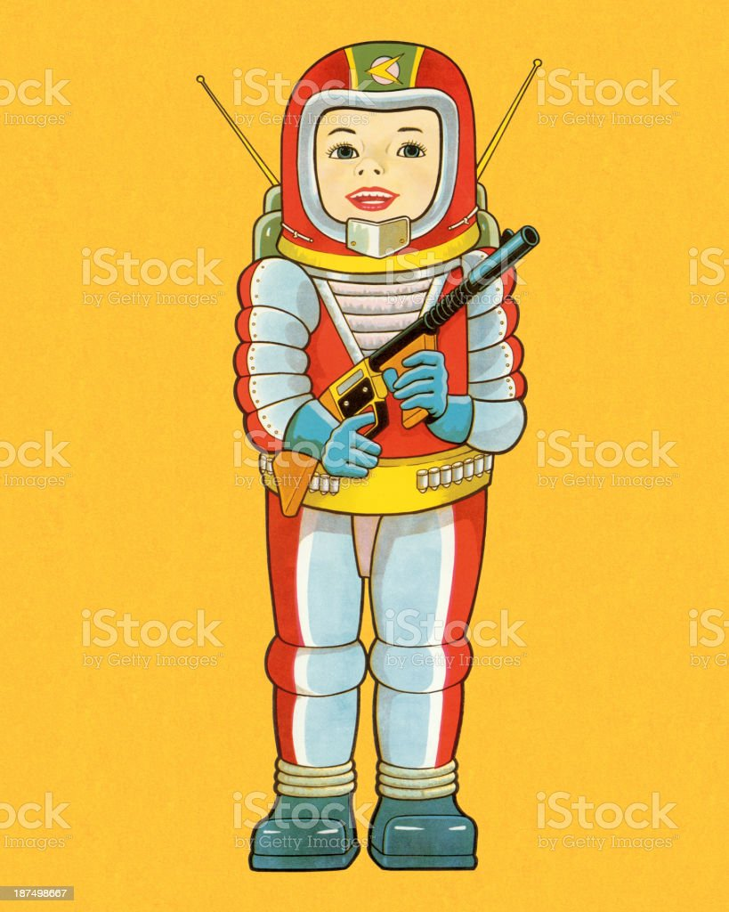 Boy Wearing Spaceman Suit royalty-free stock vector art
