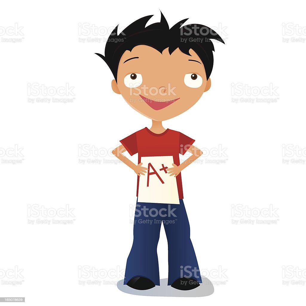 Boy with a Good Grade royalty-free stock vector art