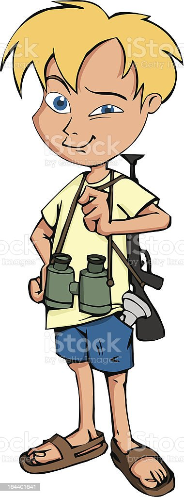 Boy with binoculars and toy weapon royalty-free stock vector art