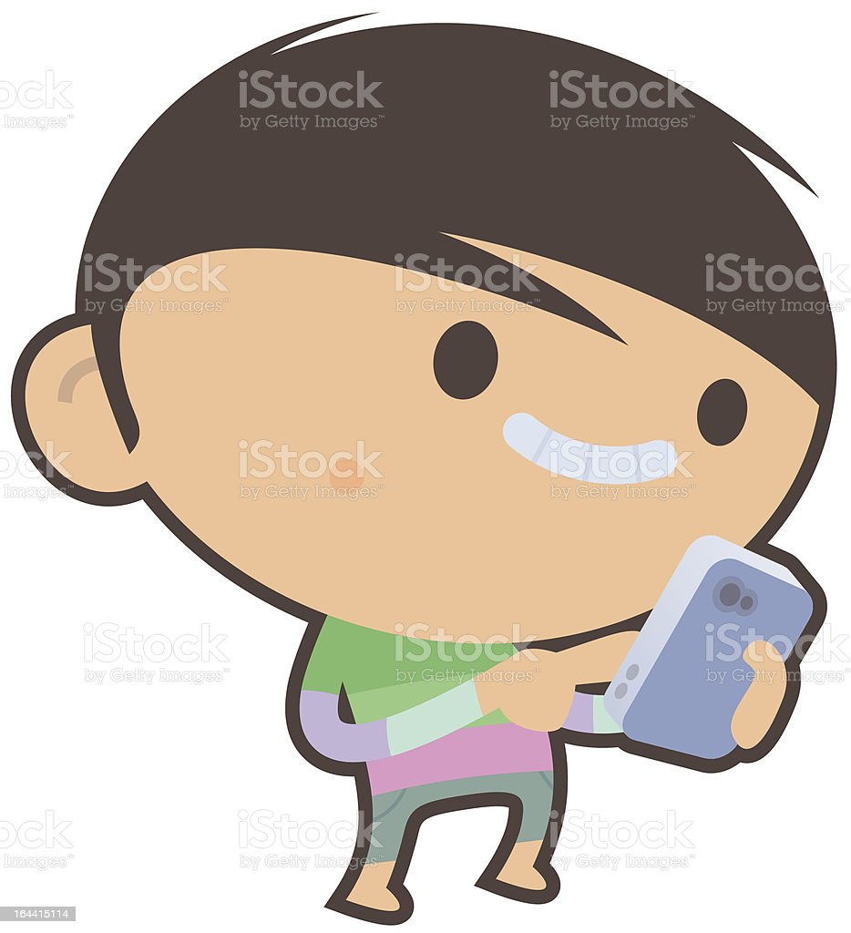 Boy with Cellphone royalty-free stock vector art