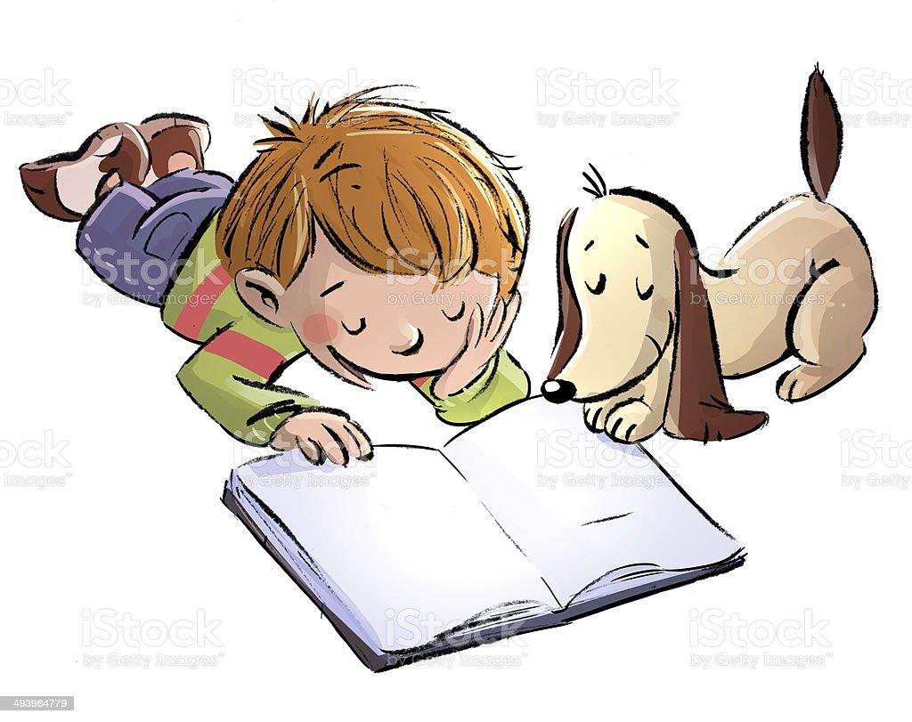 Boy with dog reading vector art illustration