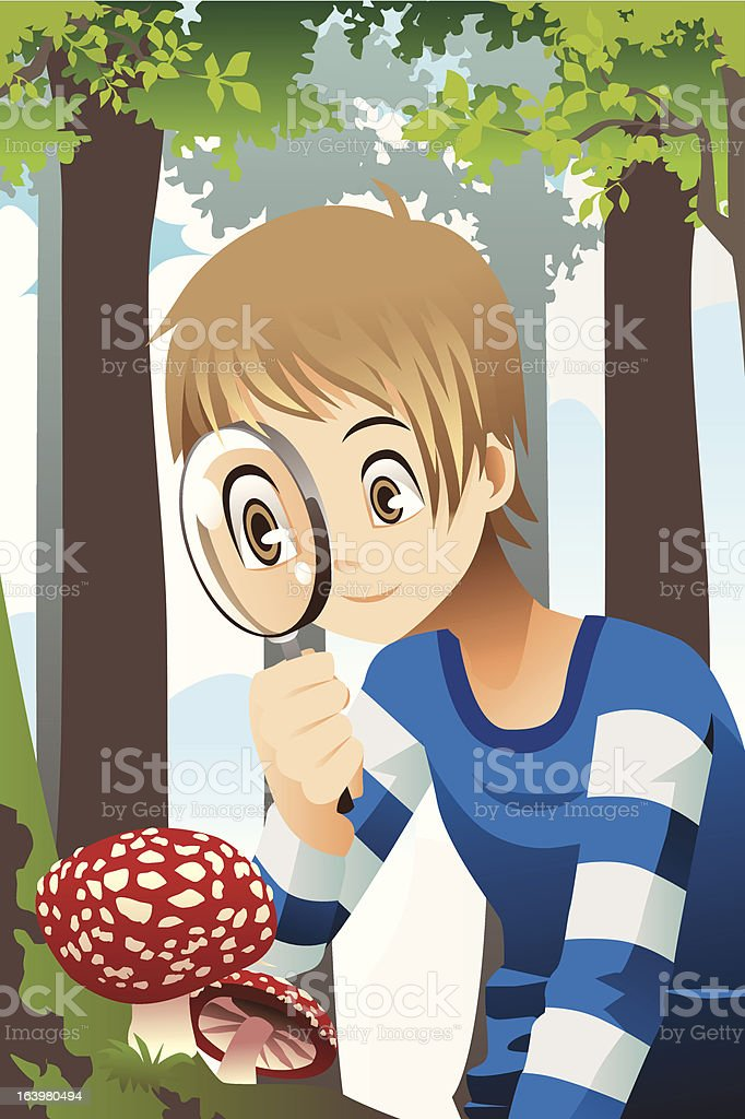 Boy with magnifying glass royalty-free stock vector art