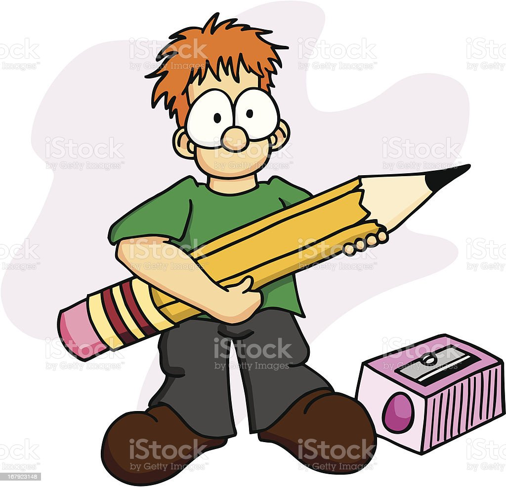 Boy with Pencil 2 royalty-free stock vector art