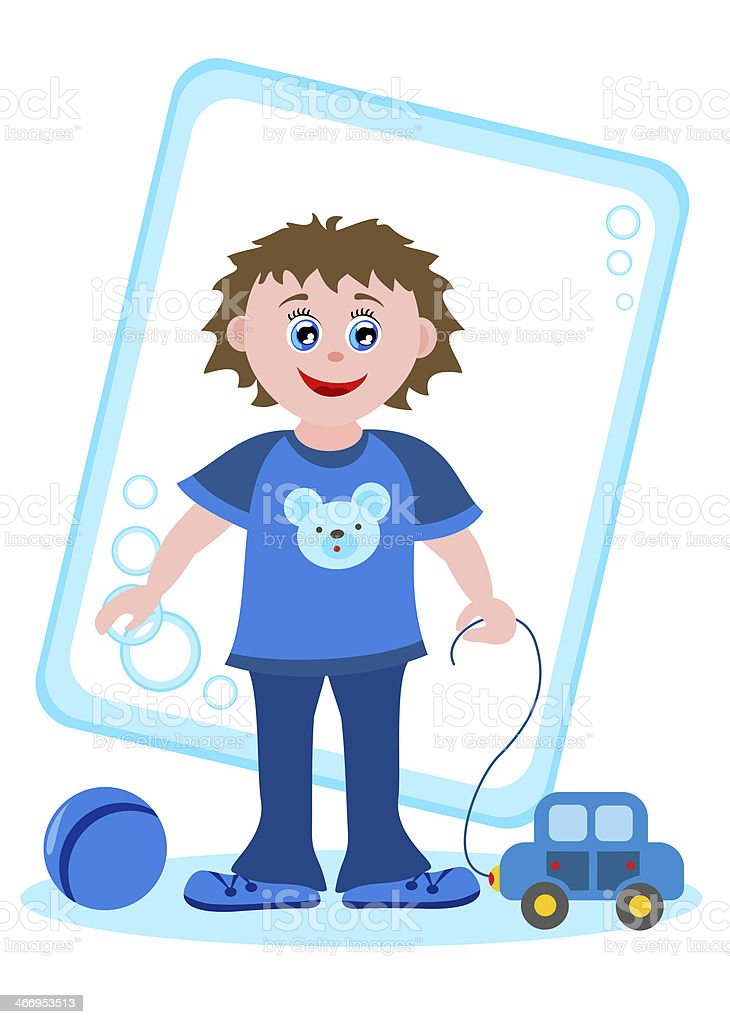 boy with toys royalty-free stock vector art