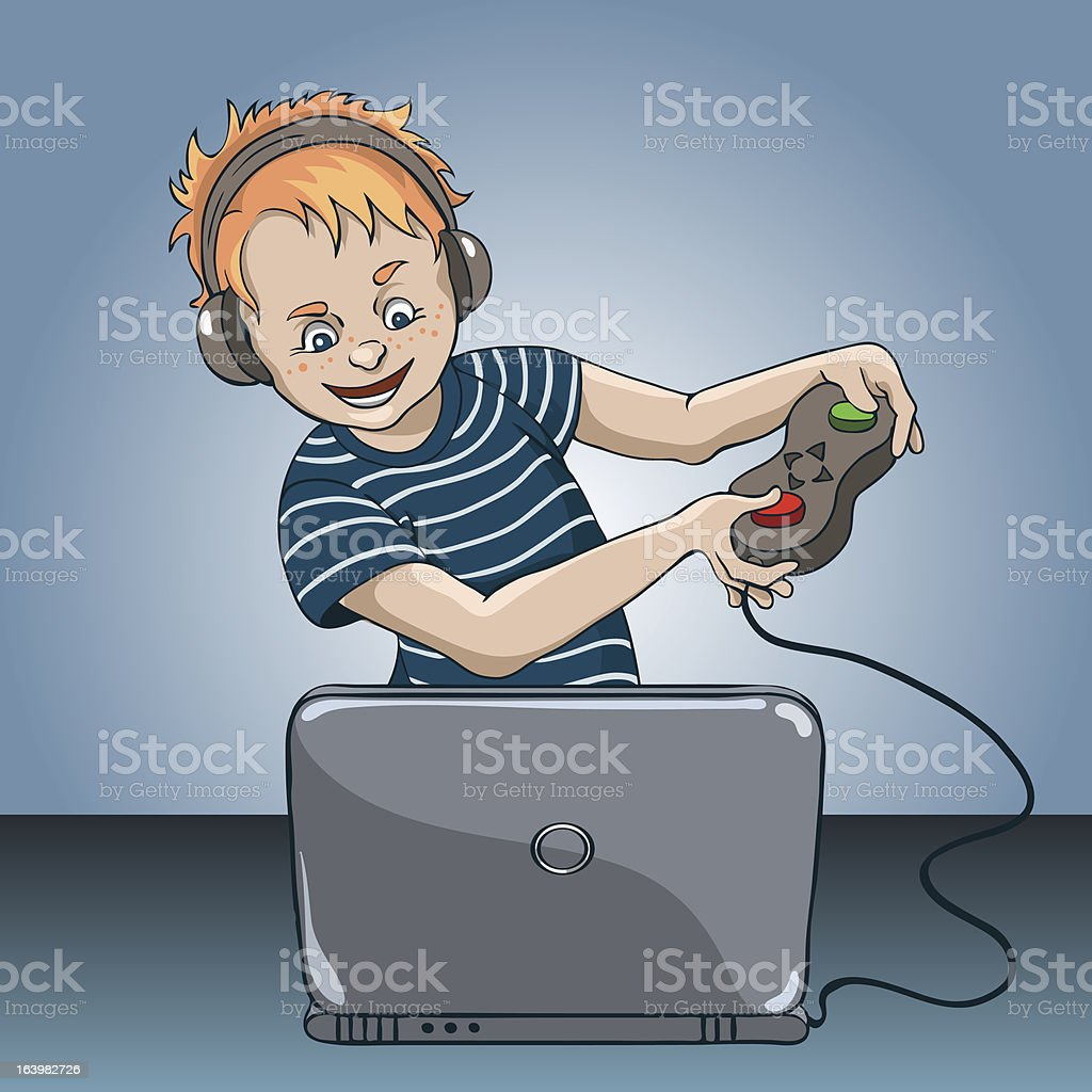 Boy_laptop royalty-free stock vector art