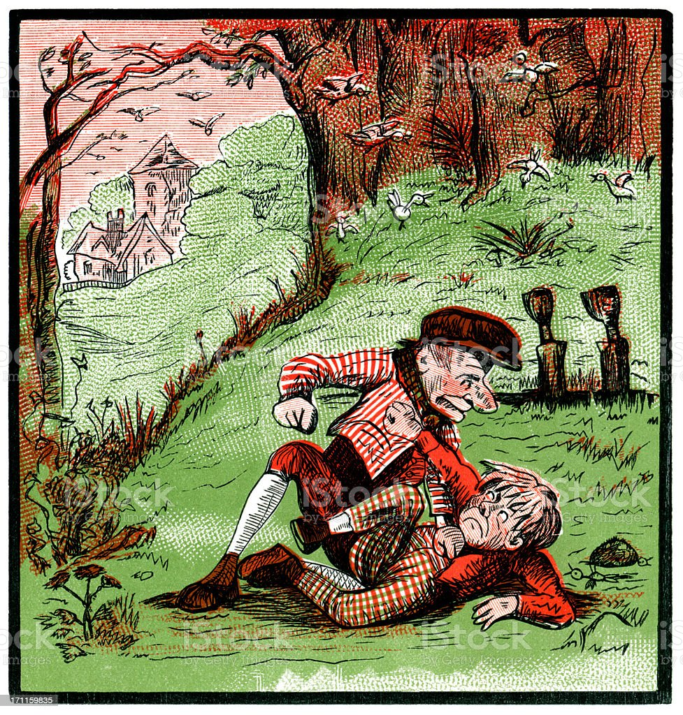 Boys fighting with one head-first in a ditch (Victorian cartoon) vector art illustration