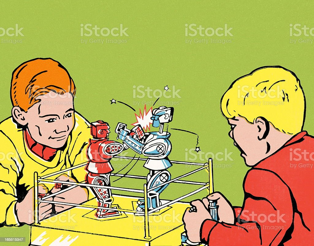 Boys Playing with Boxing Robots vector art illustration
