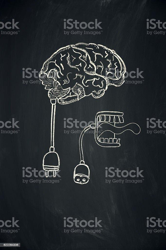 brain dead speaking mouth vector art illustration