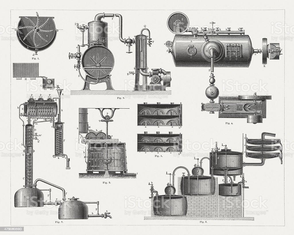 Brandy distillery, wood engravings, published in 1878 vector art illustration