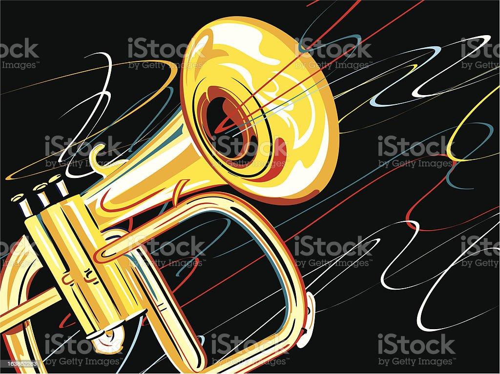 Brass Horn on Black vector art illustration