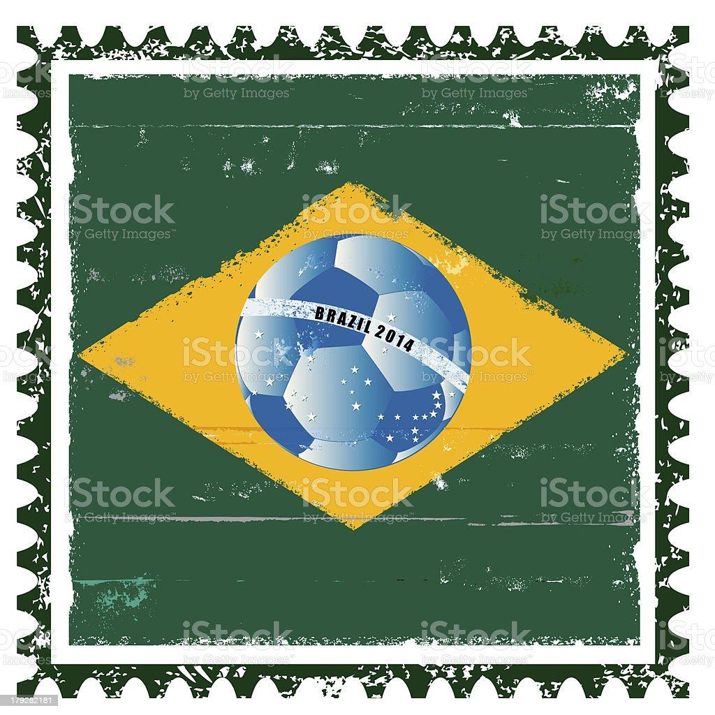 Brazil flag like stamp in grunge style royalty-free stock vector art