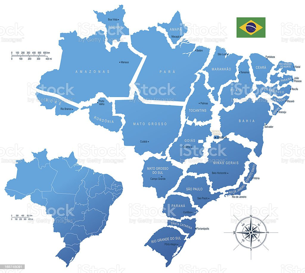 'Brazil, states' vector art illustration
