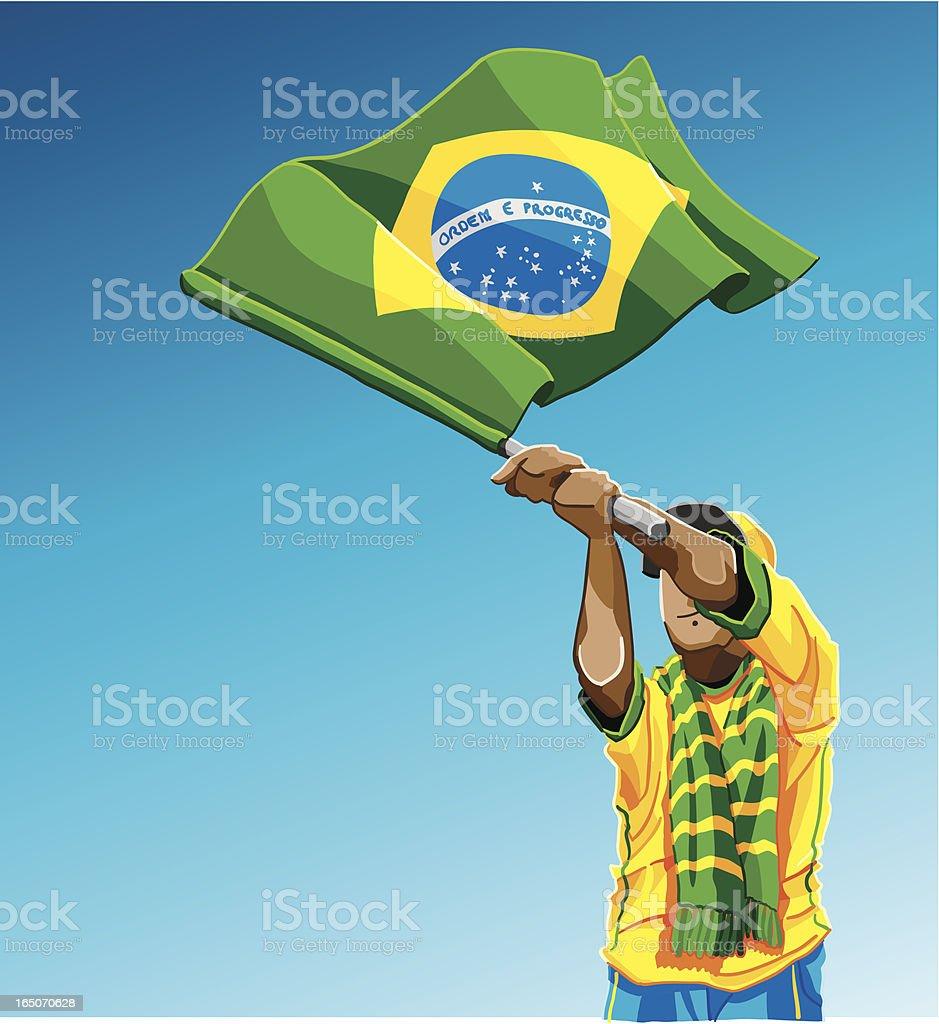 Brazil Waving Flag Soccer Fan royalty-free stock vector art