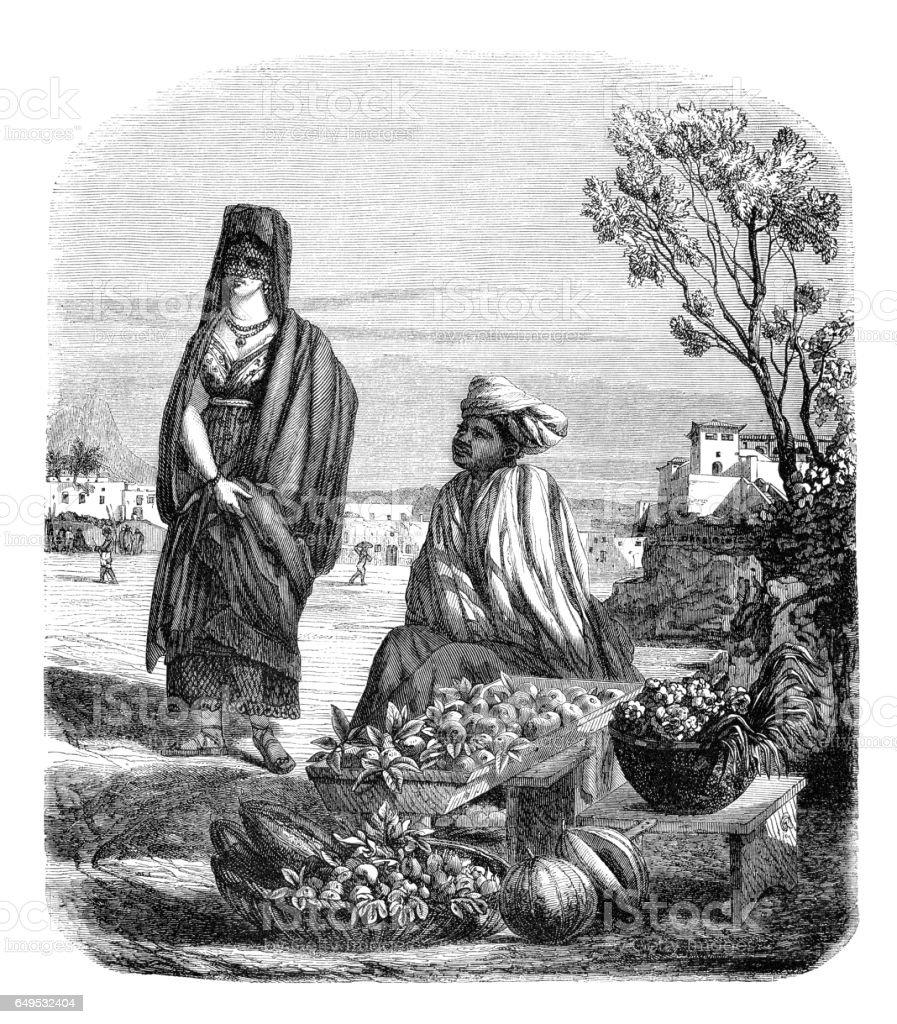 Brazilian couple near Rio de Janeiro 1844 vector art illustration