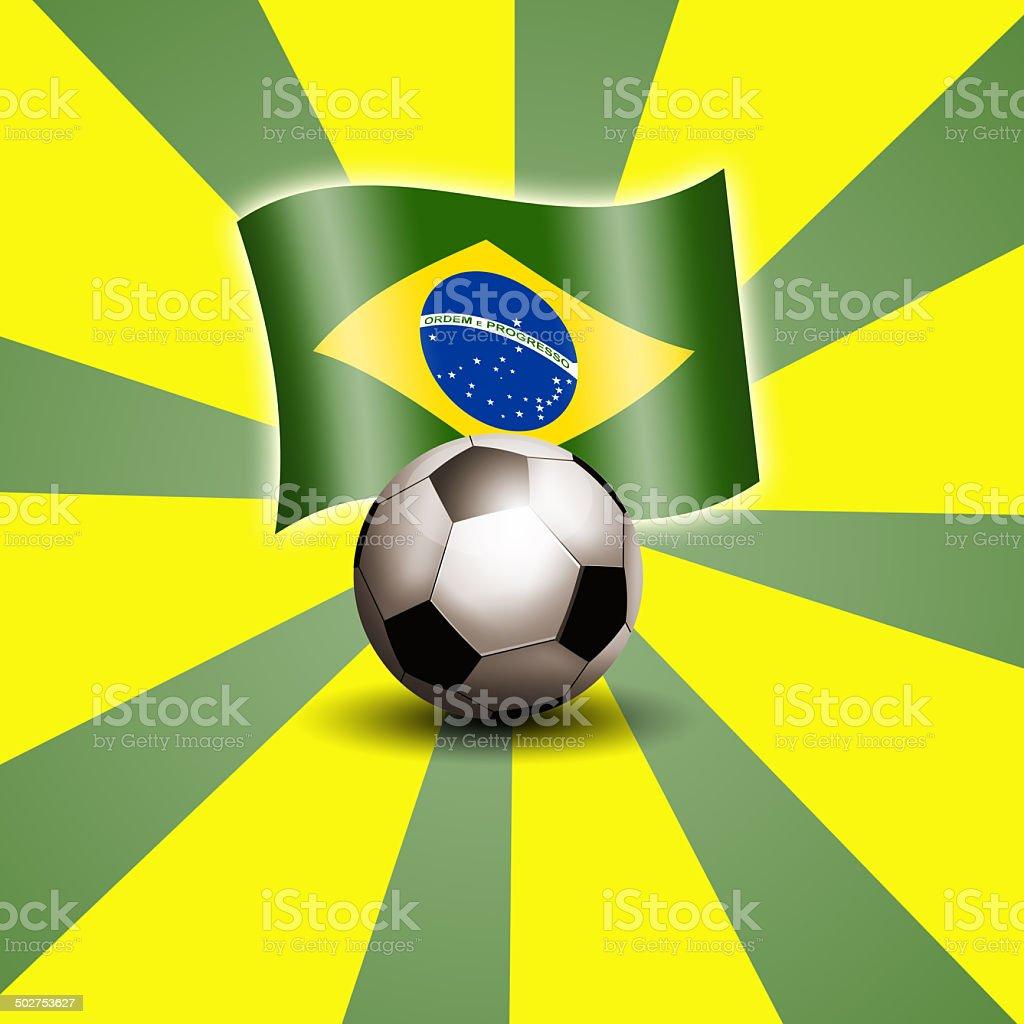 Brazilian flag and soccer ball vector art illustration