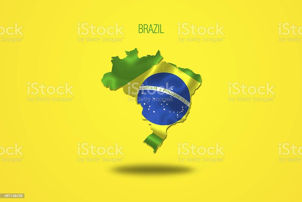 Brazilian flag in Brazil map. royalty-free stock vector art