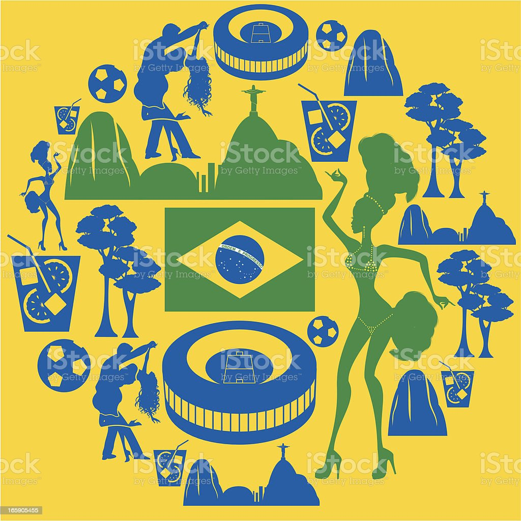 Brazilian Icon Montage vector art illustration