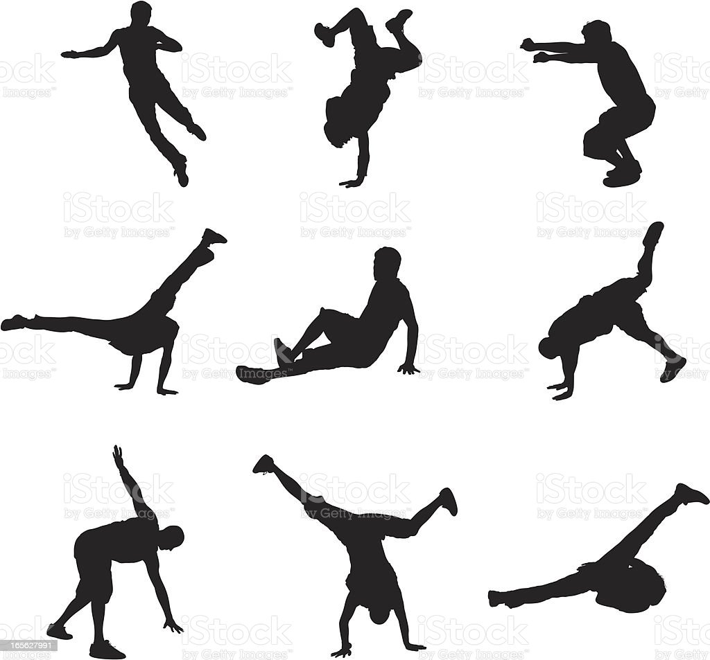 Breakdancers vector art illustration