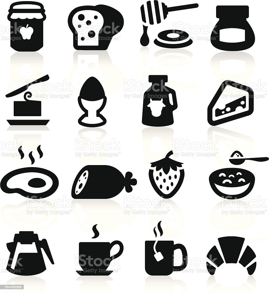 Breakfast Icons set elegant series vector art illustration