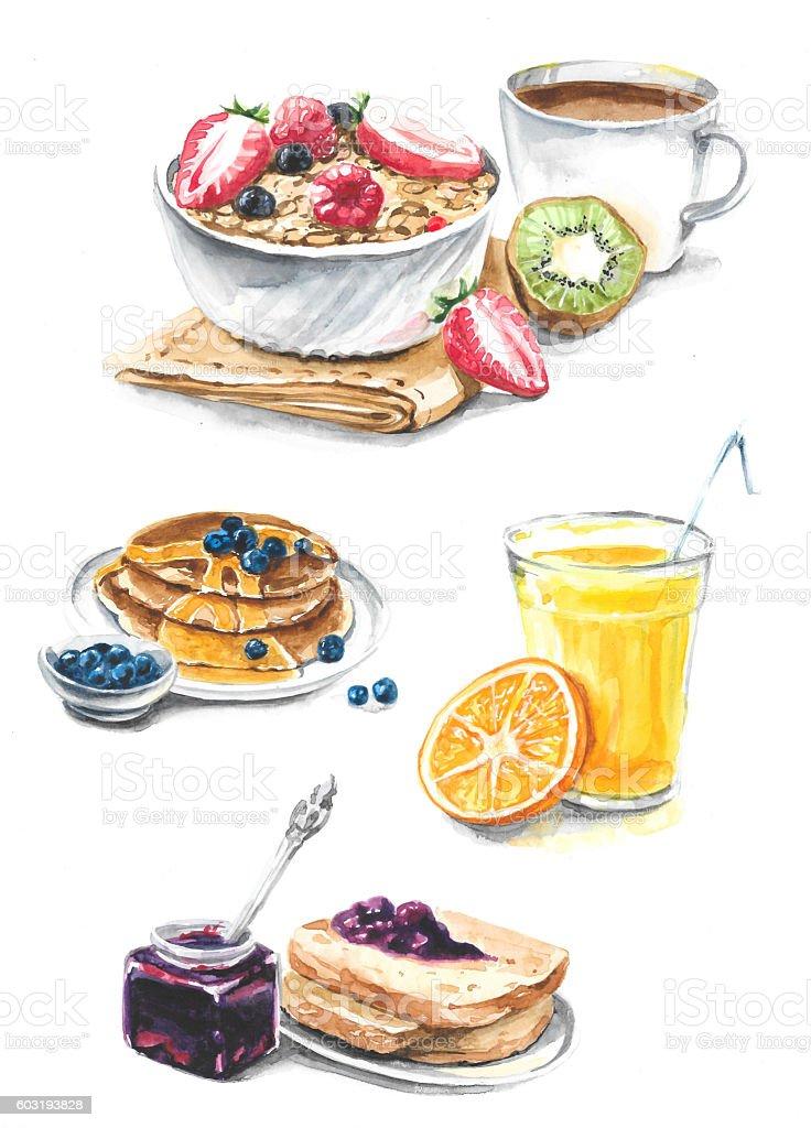 Breakfast: juice, jam, pancakes, coffee, bread, muesli vector art illustration
