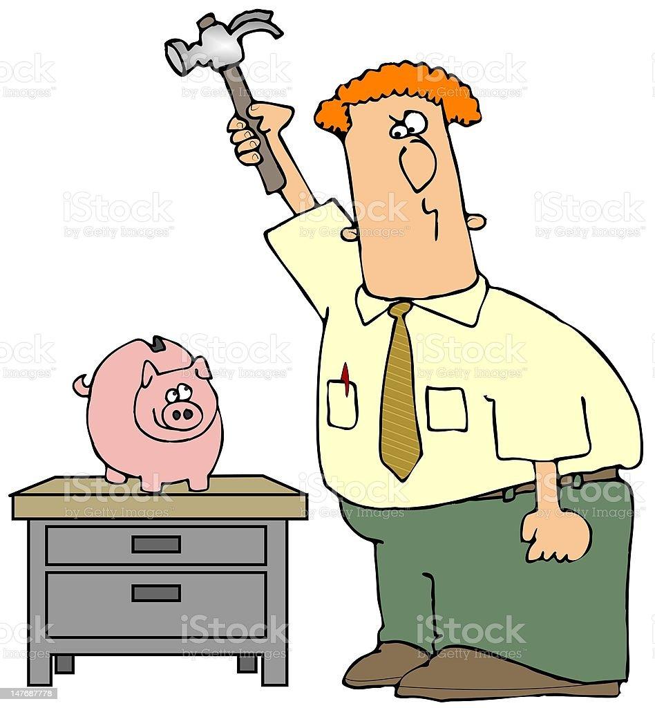 Breaking The Piggy Bank royalty-free stock vector art