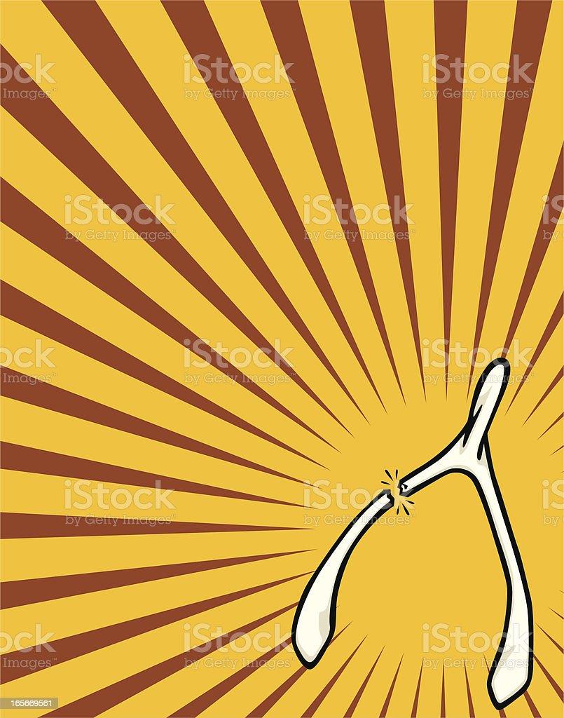 breaking wishbone vector art illustration