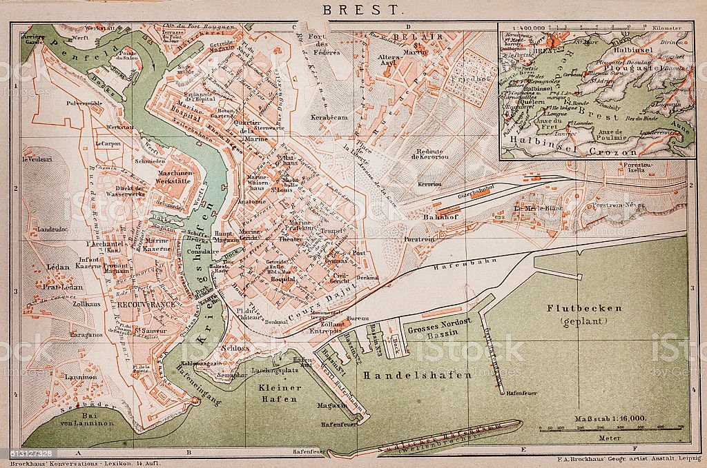 Brest ,France map vector art illustration