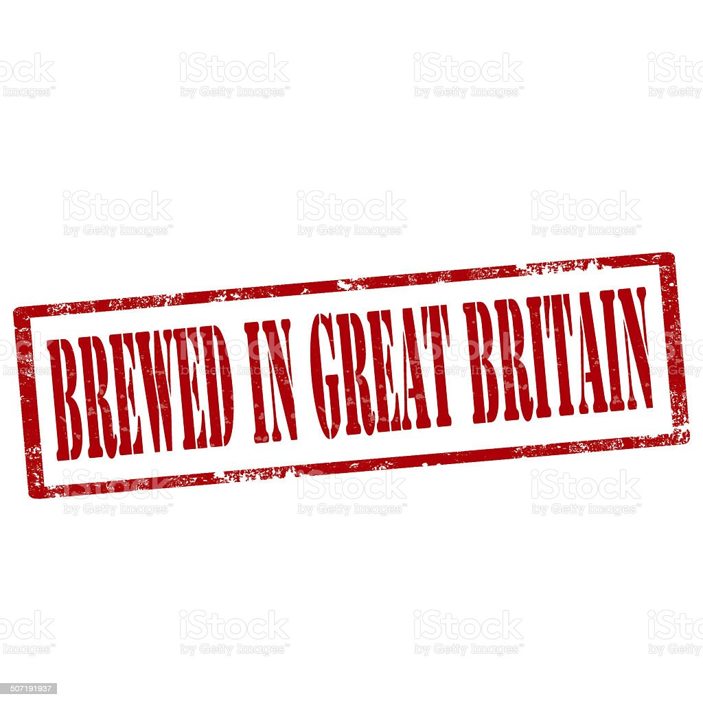 Brewed In Great Britain-stamp royalty-free stock vector art